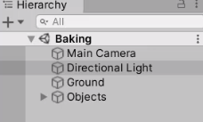 Unity Hierarchy with Directional Light selected