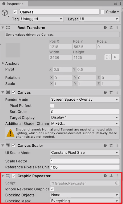 Unity Inspector with Graphic Raycaster circled on Canvas