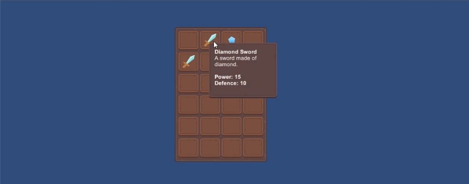 Screenshot of a game inventory window made in Unity