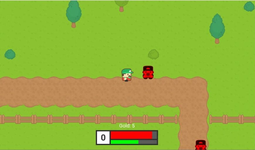 Screenshot of a 2D top down RPG made with Godot