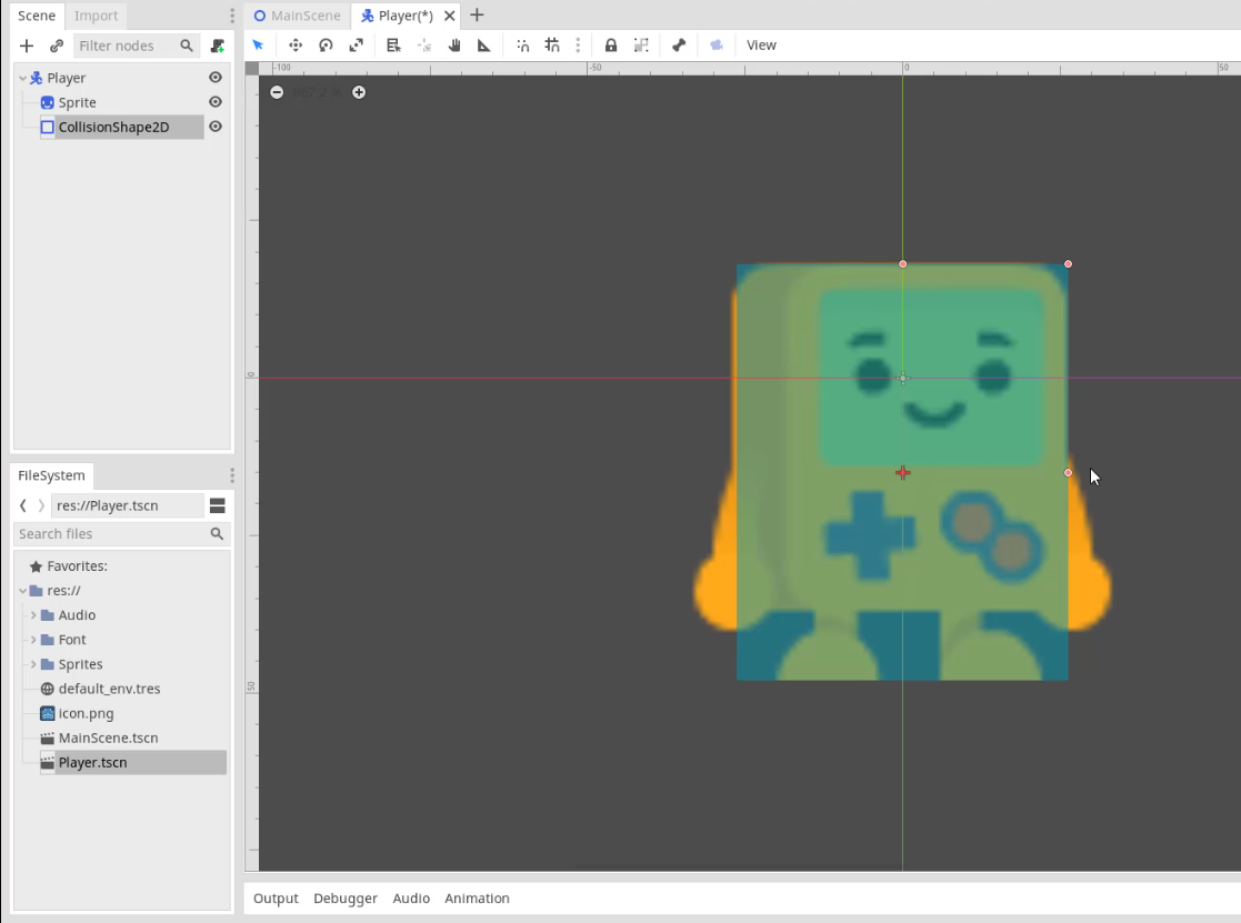 The Godot Engine with a 2D character having the collision box added
