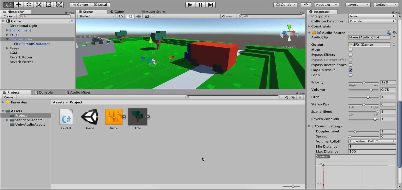 Screenshot of a Unity game engine project for an FPS experience