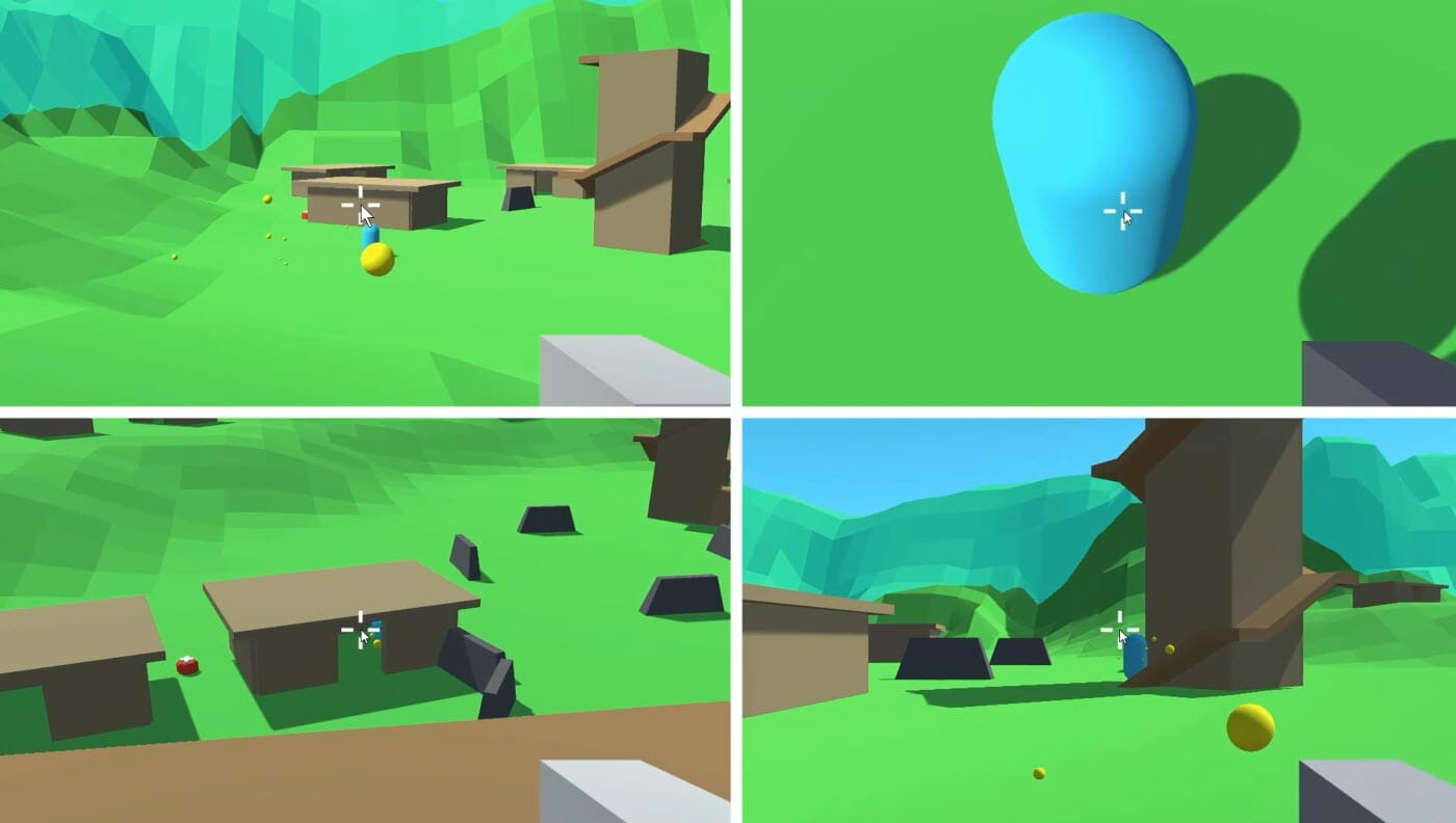 Screenshot of a battle royale style multiplayer game made in Unity