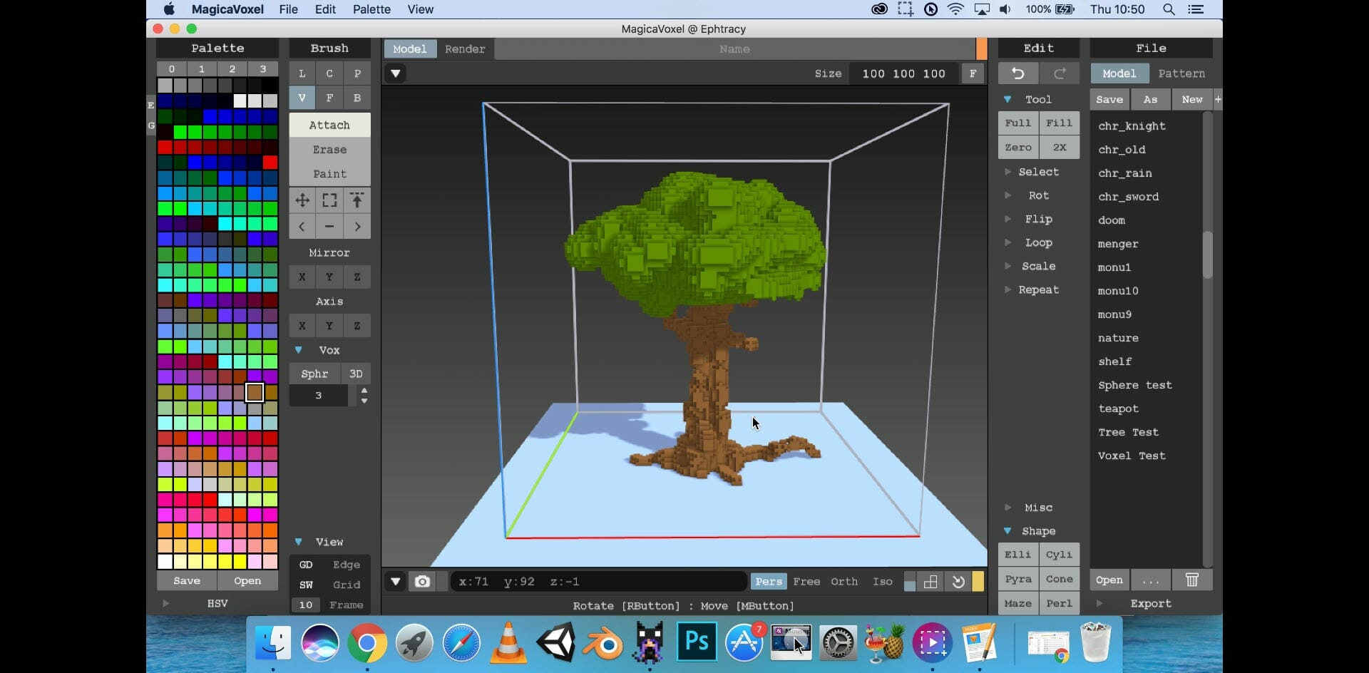 Screenshot of a tree made with MagicaVoxel