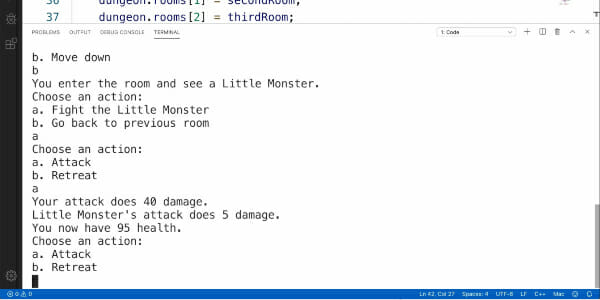 Text-based RPG example made with C++