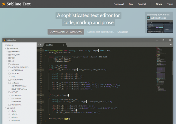 Screenshot of the sublime text website