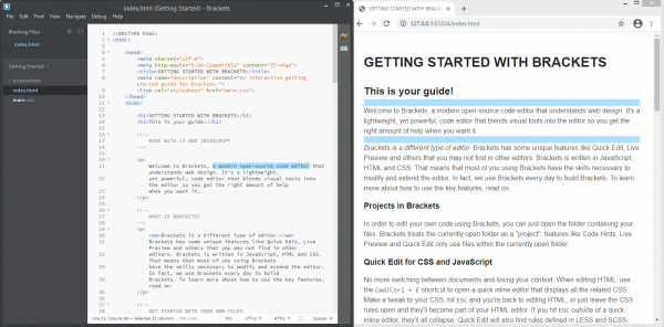 Screenshot of Brackets with Live Preview shown