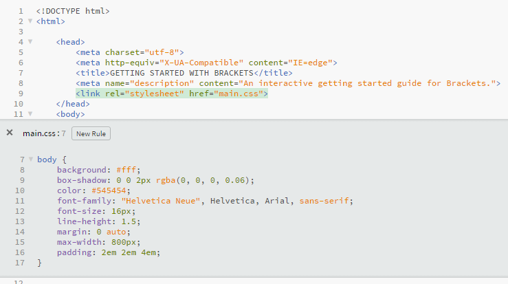 Screenshot of Brackets Inline Editor for the body