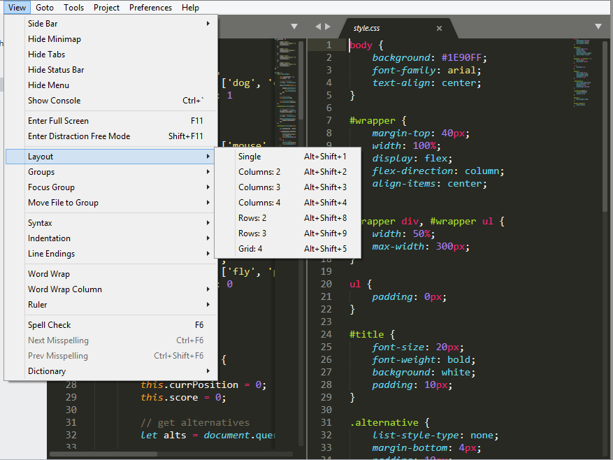 Screenshot of Sublime Text showing Layout options menu