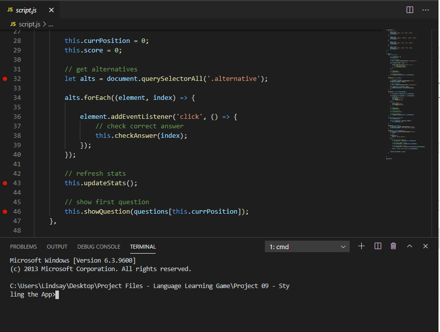 Screenshot of Visual Studio Code showing debug breakpoints and Terminal