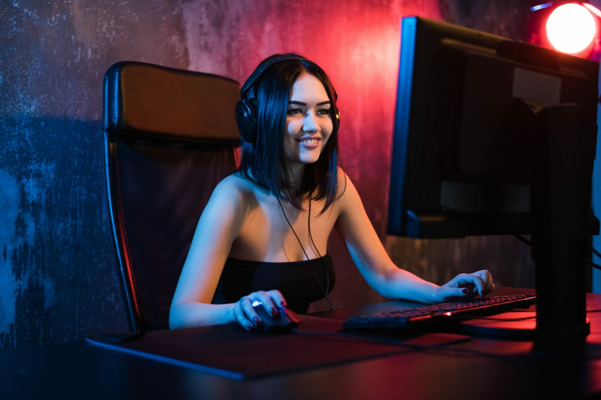 Woman playing a computer game