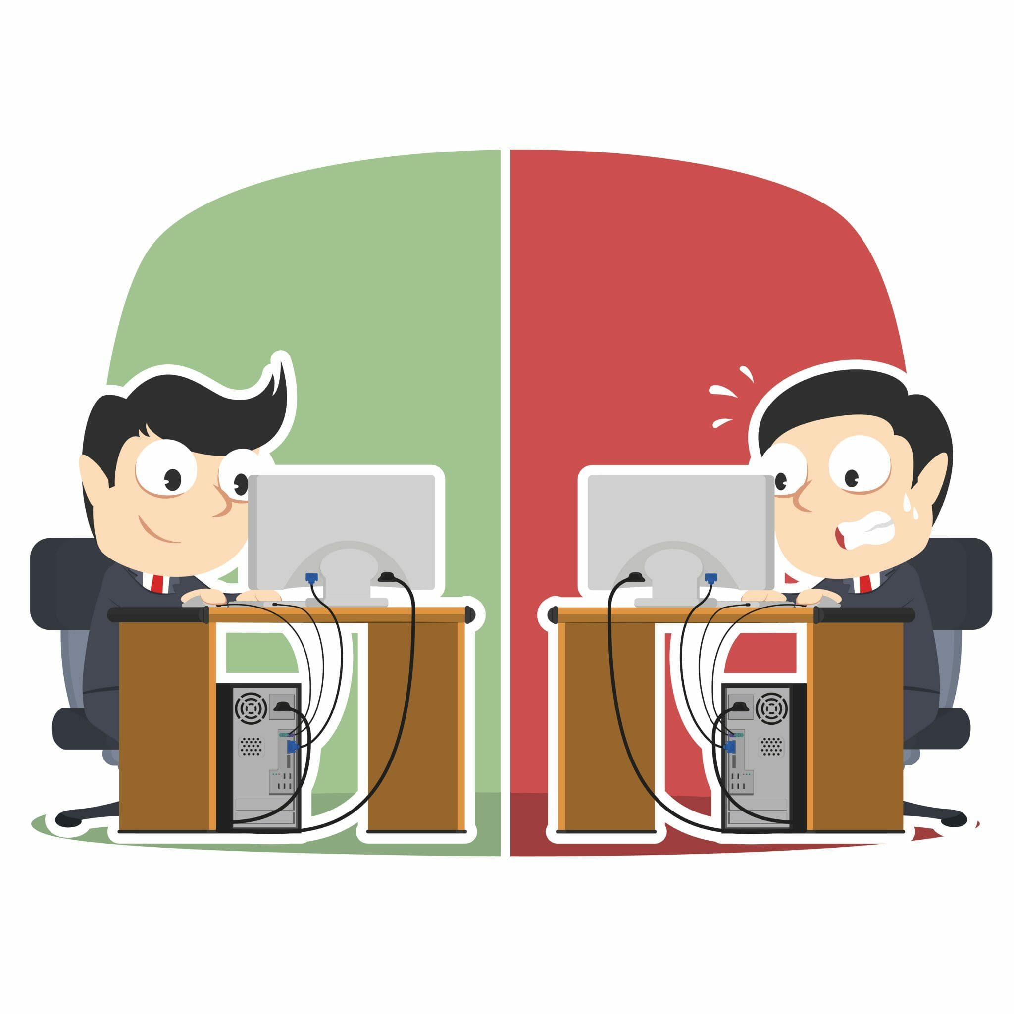 Two men at a computer working in a vector art style